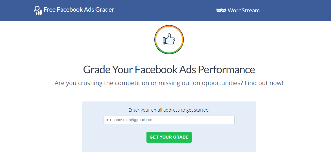 Facebook Ads Grader : Social Media Marketing Tools for Advertising