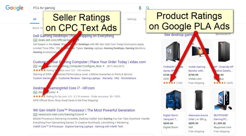 Google Shopping Ads Seller and product ratings