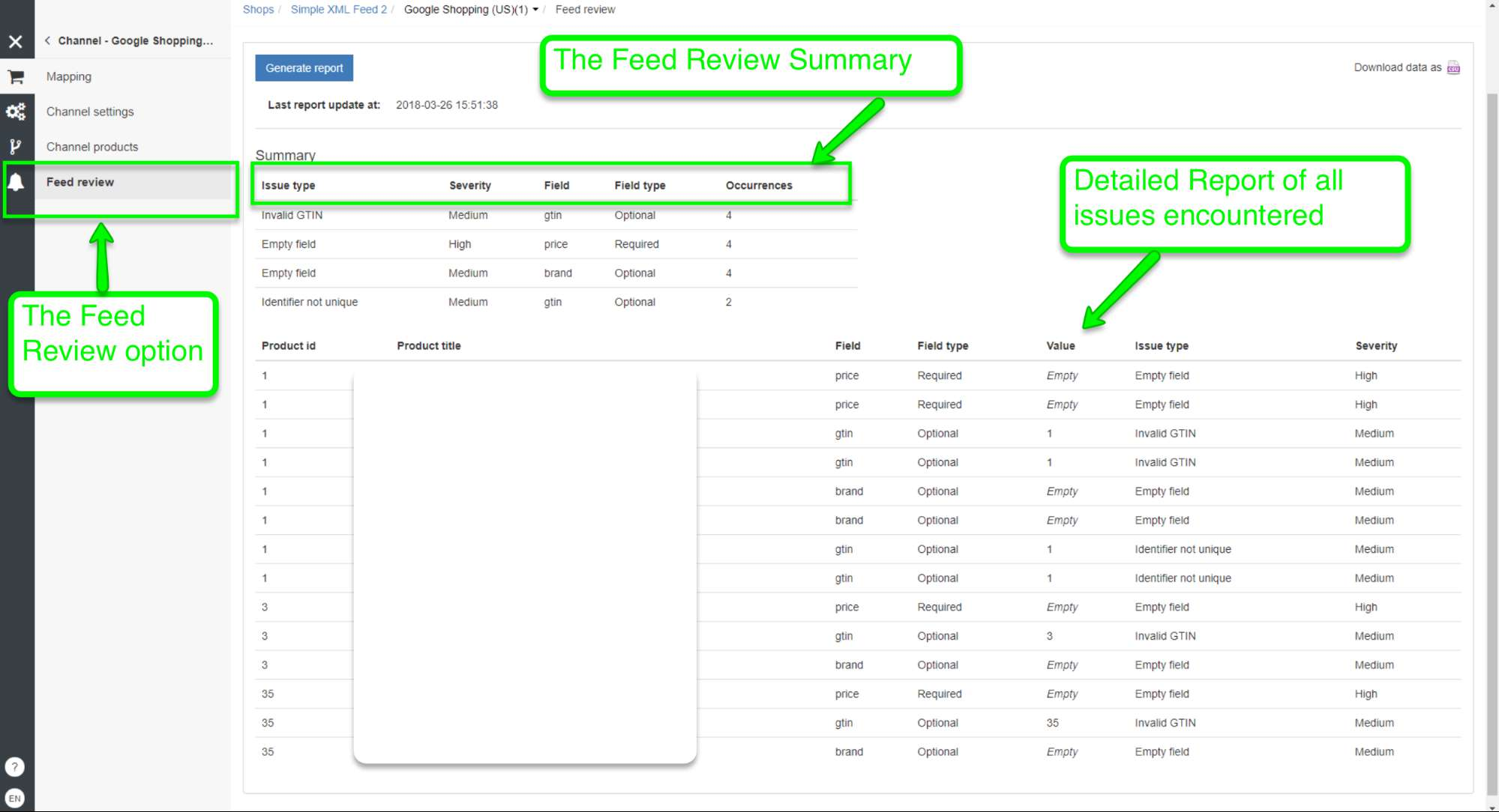 optimize your product Feed Title, Descriptions