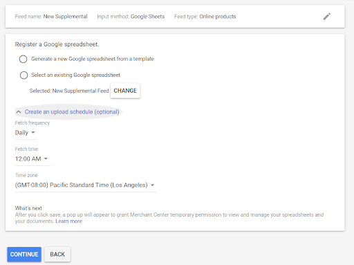 Google Merchant Supplemental Feed
