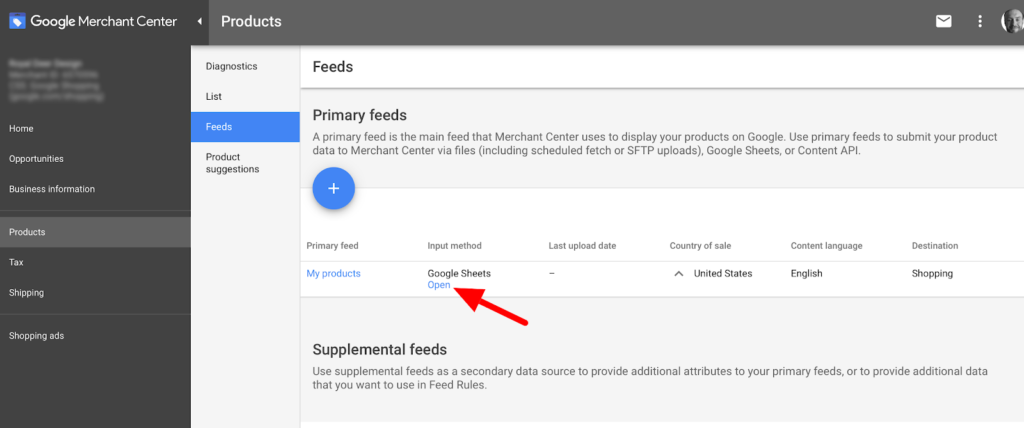 Google Shopping Primary Feed