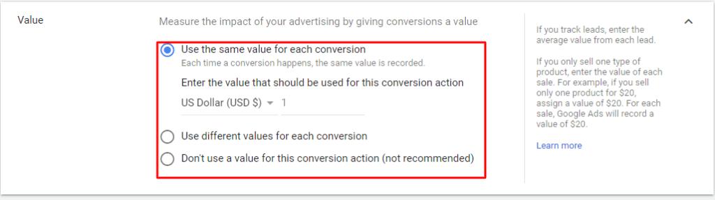 Conversion value