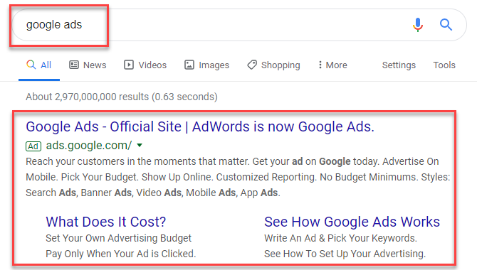 Google search ads