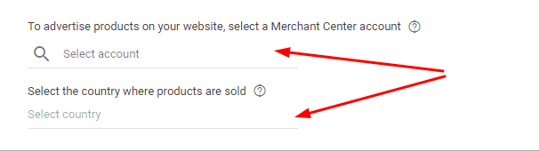 Choose a merchant center account